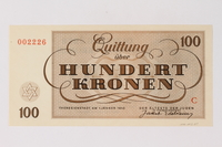 1990.92.7 back Theresienstadt ghetto-labor camp scrip, 100 kronen note  Click to enlarge