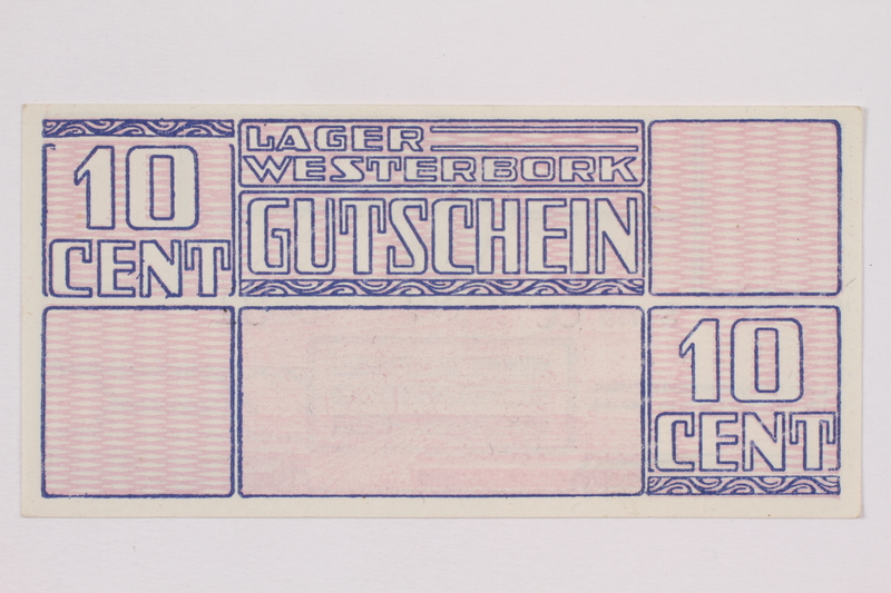 2004.216.1 front Westerbork transit camp voucher, 10 cent note, acquired by a former inmate
