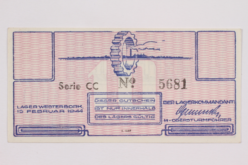 2004.216.1 back Westerbork transit camp voucher, 10 cent note, acquired by a former inmate