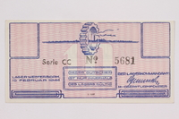 2004.216.1 back Westerbork transit camp voucher, 10 cent note, acquired by a former inmate  Click to enlarge