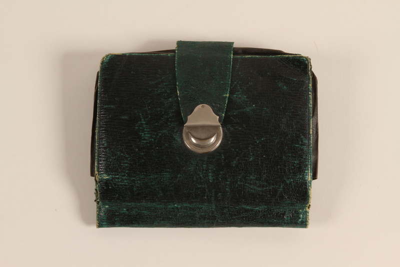 2003.132.2 front Green handkerchief case used by a German Jewish emigre