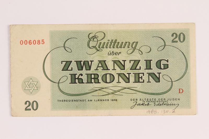 1988.136.2 front Theresienstadt ghetto-labor camp scrip, 20 kronen note