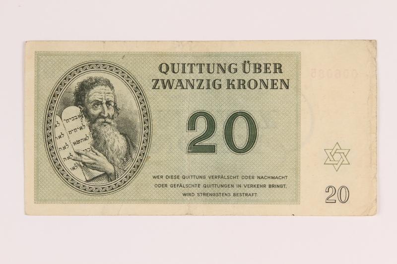 1988.136.2 back Theresienstadt ghetto-labor camp scrip, 20 kronen note
