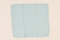 2003.454.5 front Light blue handkerchief with a pink monogram carried by a Kindertransport refugee  Click to enlarge