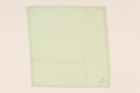 2003.454.7 front Light green handkerchief with a pink monogram carried by a Kindertransport refugee  Click to enlarge
