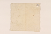 2003.454.8 front White handkerchief with a blue monogram carried by a Kindertransport refugee  Click to enlarge