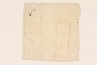 2003.454.9 front Offwhite handkerchief with a white initial carried by a Kindertransport refugee  Click to enlarge