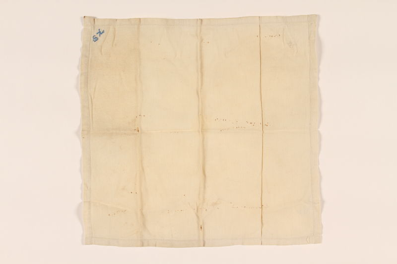 2003.454.10 front Offwhite handkerchief with two monograms carried by a Kindertransport refugee