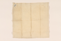2003.454.10 front Offwhite handkerchief with two monograms carried by a Kindertransport refugee  Click to enlarge