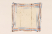 2003.454.11 front White handkerchief with blue, brown, and white stripes carried by a Kindertransport refugee  Click to enlarge