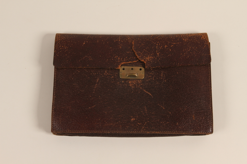 2003.454.19 front Brown leather portfolio carried by a Kindertransport refugee