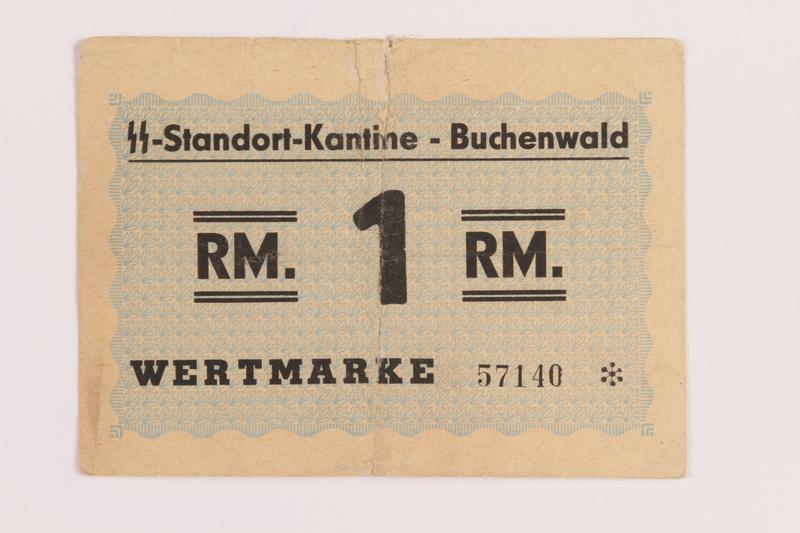 1988.168.1 front Buchenwald Standort-Kantine concentration camp scrip, 1 Reichsmark, acquired by a US soldier