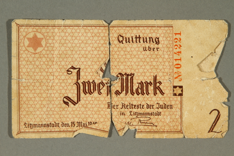 2003.460.3a-b front Łódź ghetto scrip, 2 mark note, acquired by Polish Jewish survivor