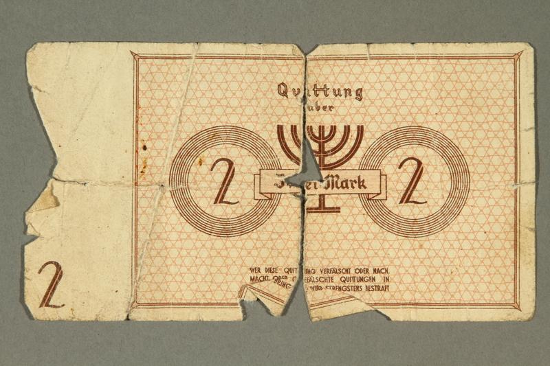 2003.460.3a-b back Łódź ghetto scrip, 2 mark note, acquired by Polish Jewish survivor