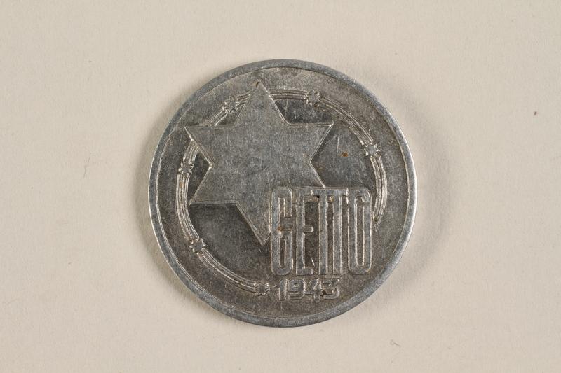 2003.460.4 front Łódź (Litzmannstadt) ghetto scrip, 10 mark coin acquired by Polish Jewish survivor