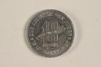 2003.460.4 back Łódź (Litzmannstadt) ghetto scrip, 10 mark coin acquired by Polish Jewish survivor  Click to enlarge