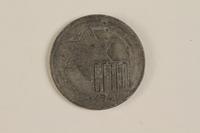 2003.460.6 front Łódź (Litzmannstadt) ghetto scrip, 5 mark coin acquired by Polish Jewish survivor  Click to enlarge