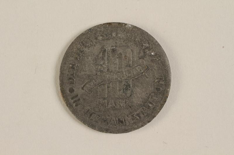 2003.460.6 back Łódź (Litzmannstadt) ghetto scrip, 5 mark coin acquired by Polish Jewish survivor