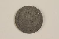 2003.460.6 back Łódź (Litzmannstadt) ghetto scrip, 5 mark coin acquired by Polish Jewish survivor  Click to enlarge