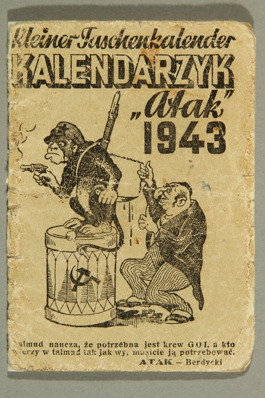 2003.460.9 front Calendar with cover of a Jew leading a Bolshevik monkey