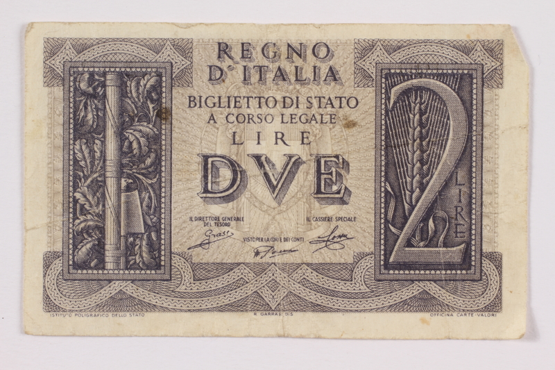 2004.323.2 front Kingdom of Italy, 2 lire note, acquired by a war crimes trials court reporter