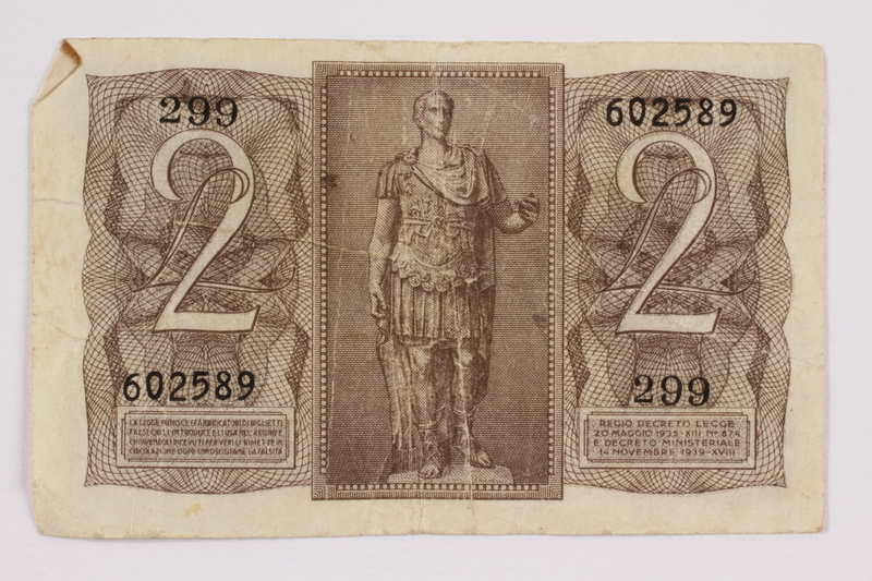 2004.323.2 back Kingdom of Italy, 2 lire note, acquired by a war crimes trials court reporter