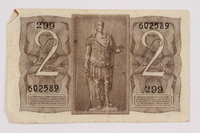 2004.323.2 back Kingdom of Italy, 2 lire note, acquired by a war crimes trials court reporter  Click to enlarge