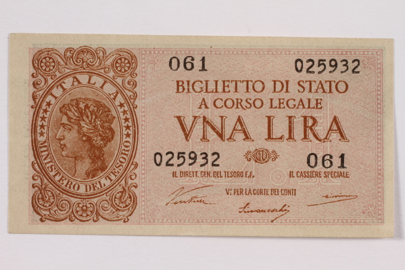 2004.323.3 back Italy Ministry of the Treasury, 1 lire note, acquired by a war crimes trials court reporter