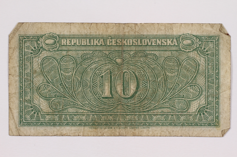 2004.323.4 back Republic of Czechoslovakia, 10 korun note, acquired by a war crimes trials court reporter