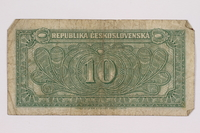 2004.323.4 back Republic of Czechoslovakia, 10 korun note, acquired by a war crimes trials court reporter  Click to enlarge