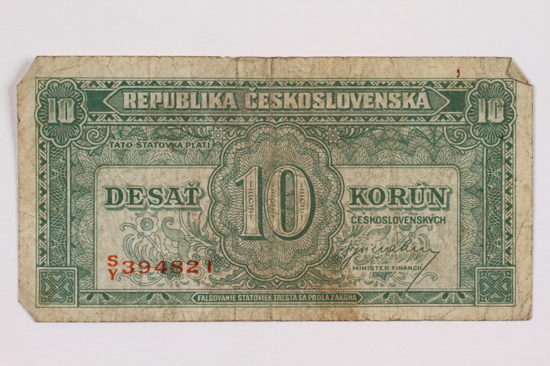 2004.323.4 front Republic of Czechoslovakia, 10 korun note, acquired by a war crimes trials court reporter