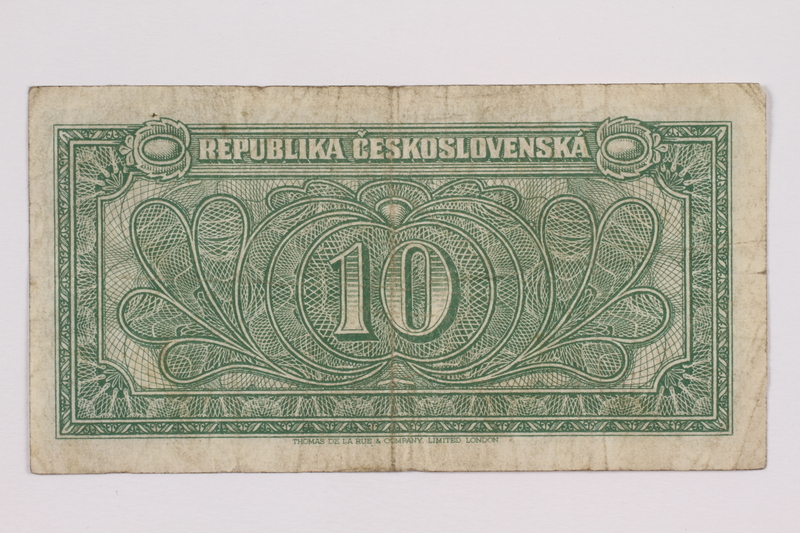 2004.323.5 back Republic of Czechoslovakia, 10 korun note, acquired by a war crimes trials court reporter