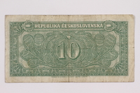 2004.323.5 back Republic of Czechoslovakia, 10 korun note, acquired by a war crimes trials court reporter  Click to enlarge