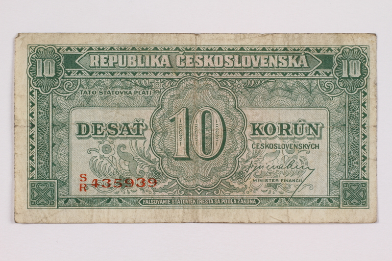 2004.323.5 front Republic of Czechoslovakia, 10 korun note, acquired by a war crimes trials court reporter