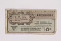 United States Military payment certificate, 10 cent note, acquired by a war crimes trials court reporter