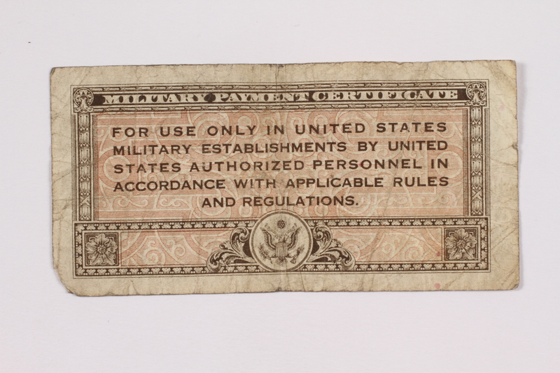 2004.323.6 back United States Military payment certificate, 10 cent note, acquired by a war crimes trials court reporter