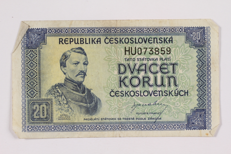 2004.323.8 front Republic of Czechoslovakia, 20 korun note, acquired by a war crimes trials court reporter