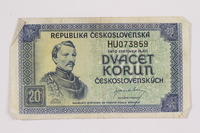 2004.323.8 front Republic of Czechoslovakia, 20 korun note, acquired by a war crimes trials court reporter  Click to enlarge