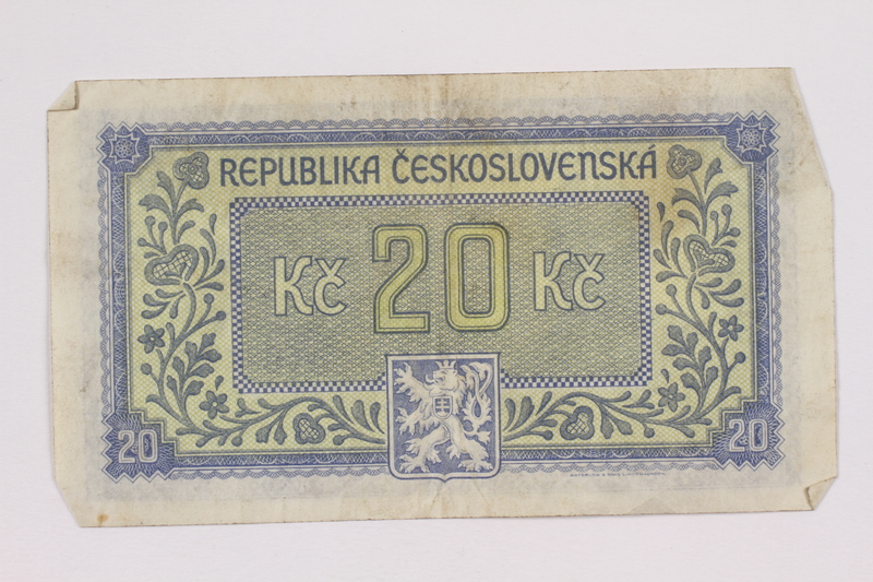 2004.323.8 back Republic of Czechoslovakia, 20 korun note, acquired by a war crimes trials court reporter