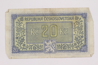 2004.323.8 back Republic of Czechoslovakia, 20 korun note, acquired by a war crimes trials court reporter  Click to enlarge