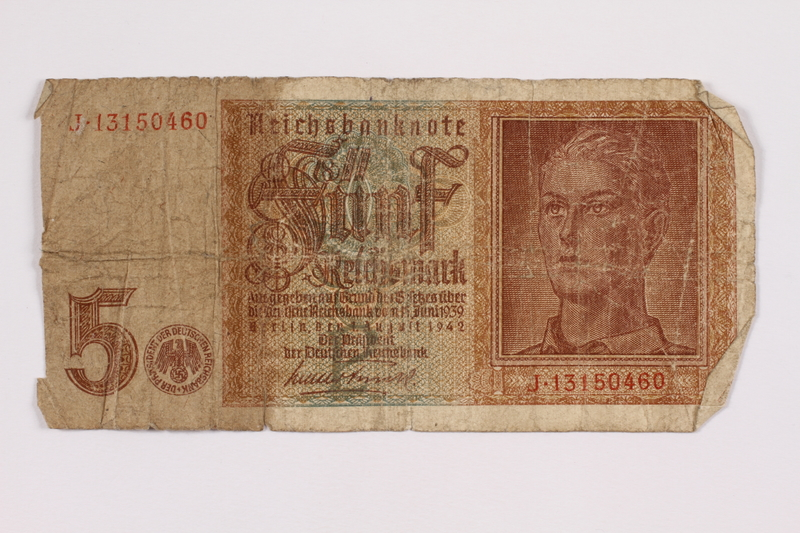 2004.323.9 front Nazi Germany, 5 mark note, acquired by a war crimes trials court reporter