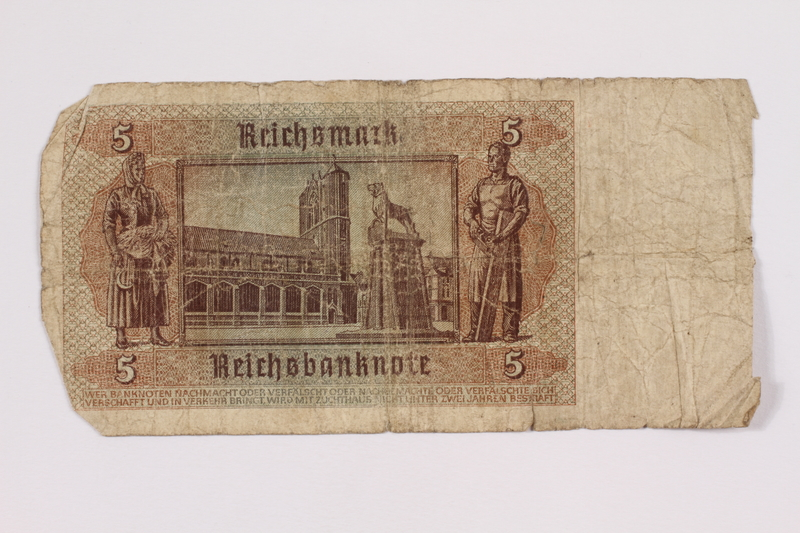 2004.323.9 back Nazi Germany, 5 mark note, acquired by a war crimes trials court reporter