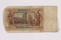2004.323.9 back Nazi Germany, 5 mark note, acquired by a war crimes trials court reporter  Click to enlarge
