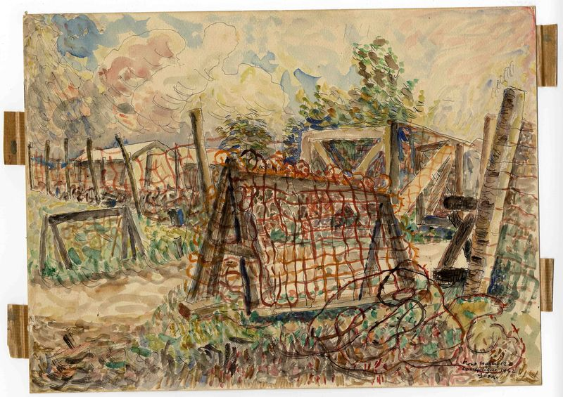 Jacques Gotko artwork, 2003.462.1 Aquarelle of a gated internment camp path by a Russian Jewish inmate