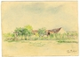 Colored drawing of internment camp barracks by a Polish Jewish inmate