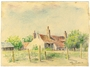 Color drawing of internment camp garden by a Polish Jewish inmate