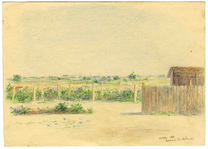 Fiszel Zylberberg-Zber artwork, 2003.462.6 Color drawing of a fence near an internment camp garden by a Polish Jewish inmate