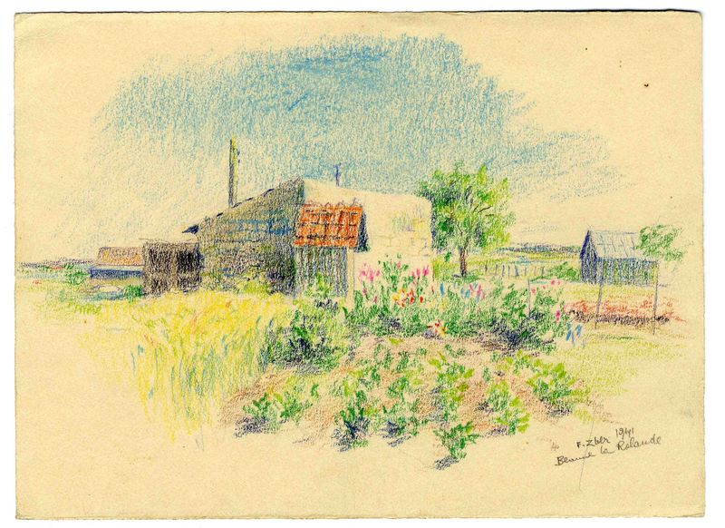 Fiszel Zylberberg-Zber artwork, 2003.462.7 Color drawing of an internment camp flower garden by a Polish Jewish inmate