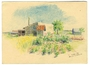 Color drawing of an internment camp flower garden by a Polish Jewish inmate