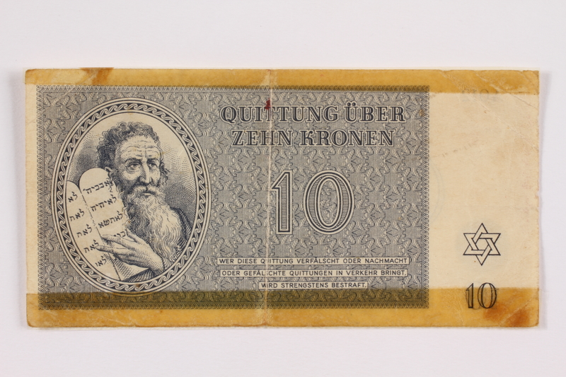 2004.385.2 front Theresienstadt ghetto-labor camp scrip, 10 kronen note, acquired by a former inmate